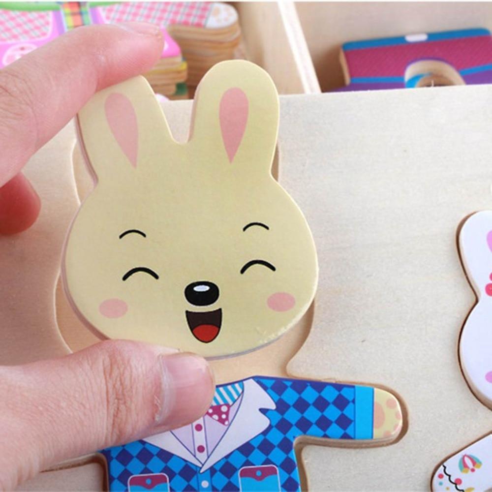 Пазлы мультфильм кролик изменить платье изменение головоломки детские игрушки Настольные игры одежда Деревянные игрушки Монтессори ранне...