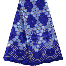 2019 Royal Blue Cotton Lace Nigerian Laces Fabrics High Quality African French Tull Laces Fabric For Wedding Praty Dress A1468