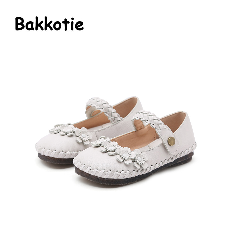Bakkotie 2018 Spring New Fashion Baby Girl Pu Leather Flower Party Shoes Child Casual Princess Flats kid Brand Sweet Mary Jane