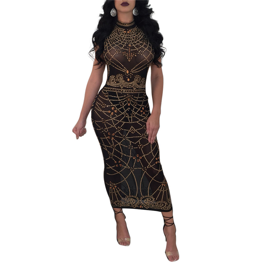 Tsuretobe New Fashion Women Print Midi Dress Sleeveless See Through Sexy  Dresses Black Bodycon Party Club Dress-in Dresses from Women s Clothing on  ... ca533efec1a9