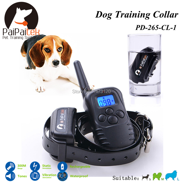 Rechargeable and Waterproof 300M Range Remote Control Shock+Vibra+Electric Dog Training Collar With LCD Display Dog Collar