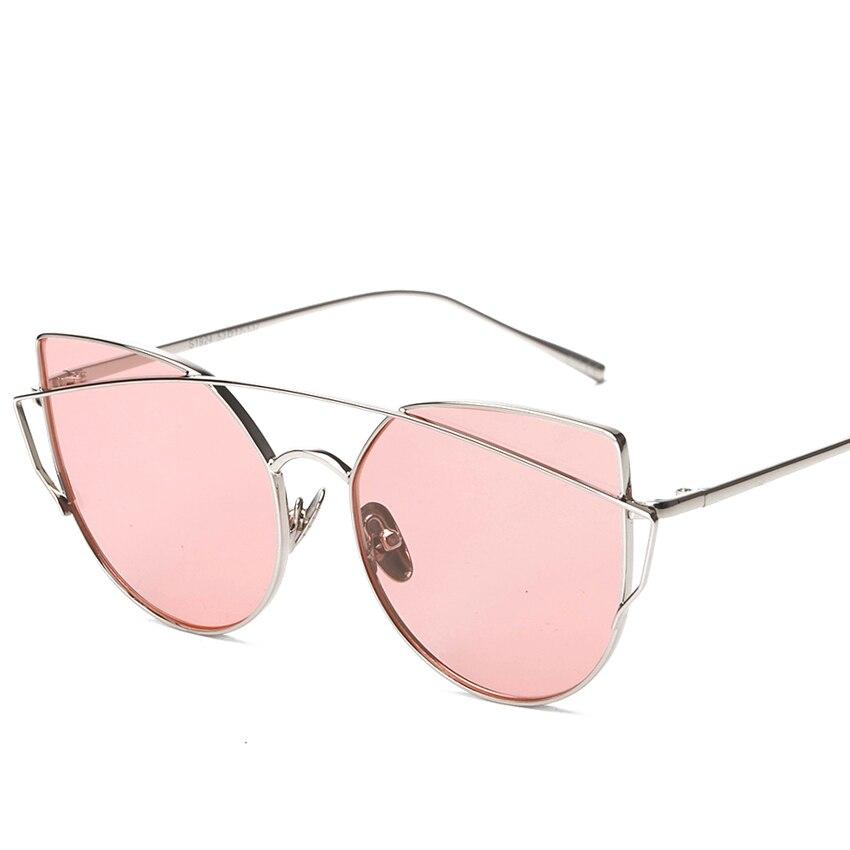 cdaeff023630f6 Haute Qualité Femmes Cat Eye lunettes de Soleil Classique Marque Designer  Double-Poutres Lunettes Revêtement Miroir Plat Panneau Lentille UV400 MA119