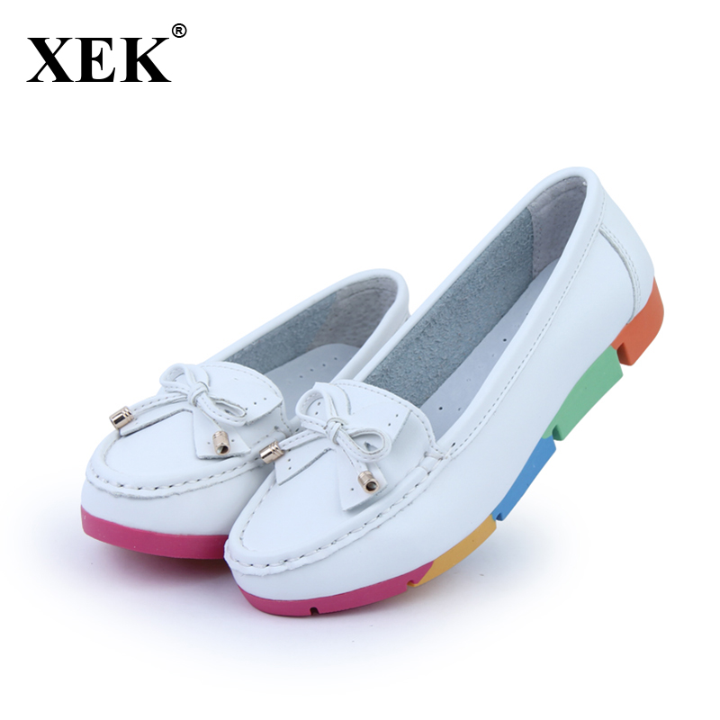 2018 Women Casual Shoes Solid Cut-outs Bowknot Women Flats Round Toe Moccasins Loafers Breathable Colorful Sole Shoes XC38