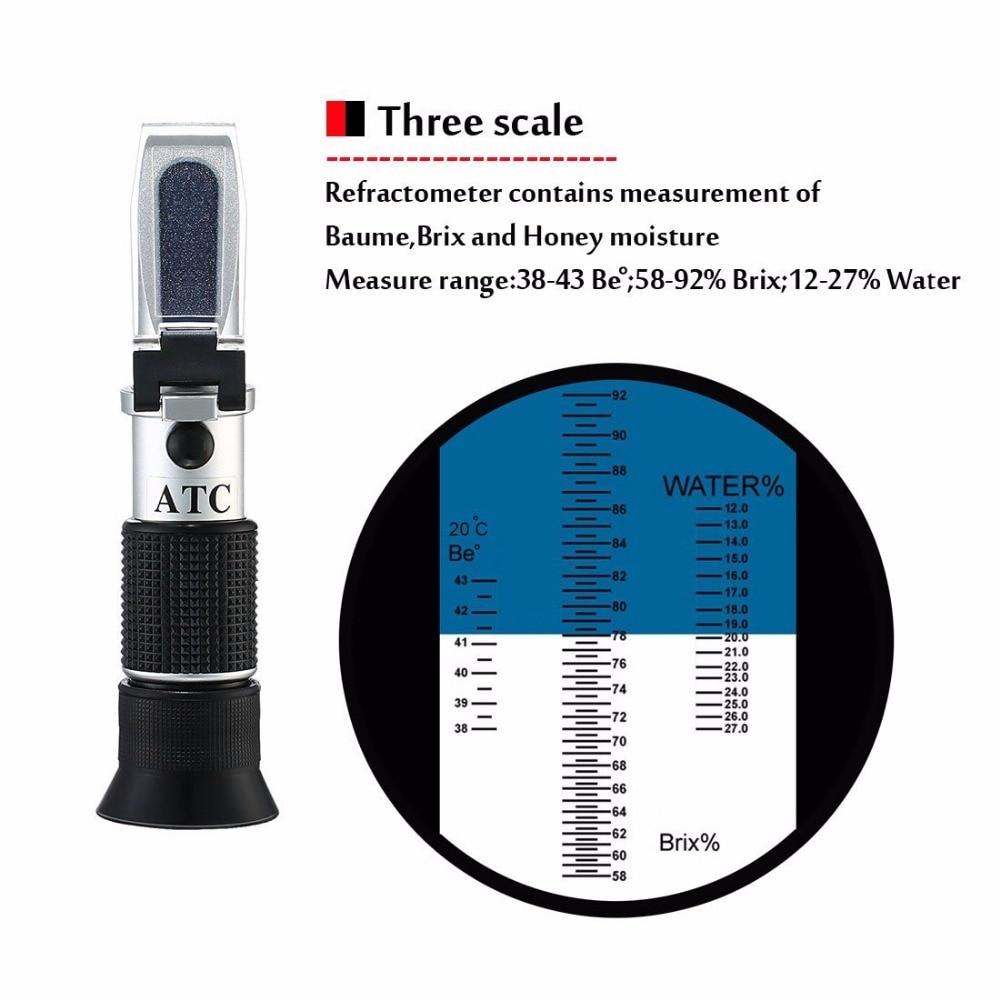 Date De Poche réfractomètre Réfraction Outils 58 ~ 92% Brix 38 ~ 43 Être Baume Miel Vin L'eau Matières (12-27%) Réfractomètre