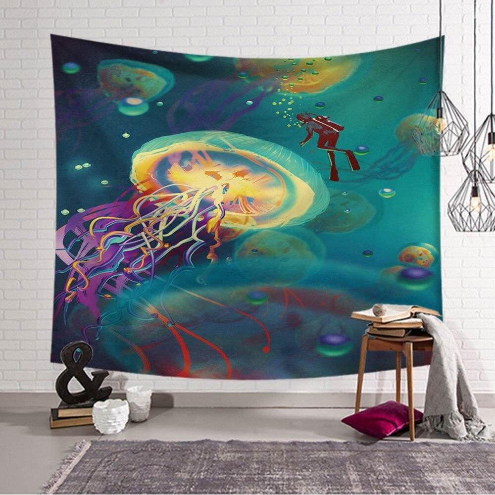Dreamlike Sea Style Wall Tapestry Beach Towel Moon Jellyfish Pattern Home Decorative Tapete Bedroom Blanket Table Cloth Yoga Mat