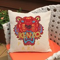 Tiger Head Print pillow linen Short plush cushion cover pillowcase throw pillow KEN Jungle Paris decorative housse de coussin
