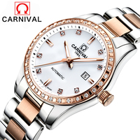 Relojes Mujer 2016 Carnival Brand Luxury Vintage Automatic Mechanical Watch Women Thin Fashion Waterproof Ladies Wristwatches