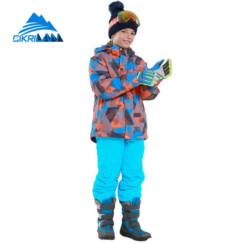 New Kids Outdoor Winter Sport Boys Skiing Set Windproof Cotton Padded Jacket Snow Pants Waterproof Snowboard Ski Suits Children