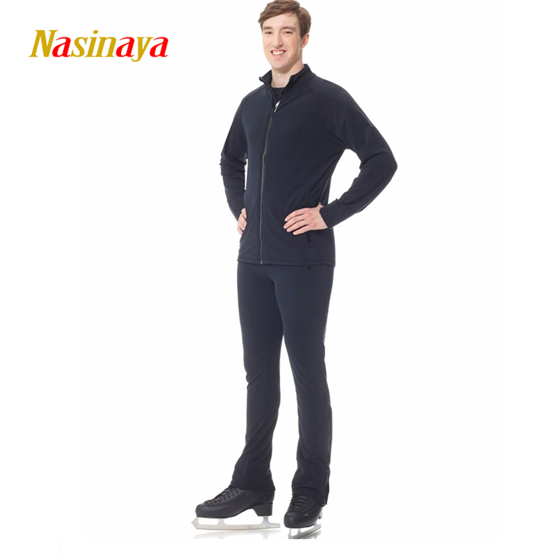 Customized Figure Skating Suit Jacket Zippered Tops for Boy Pants Men Training Competition Patinaje Ice Skating