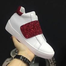 3327573c8642 Femme Sneakers Marque Étoiles Chaussures Crochet Boucle Femme Casual  Chaussures En Cuir Blanc Femmes Chaussures Hauteur