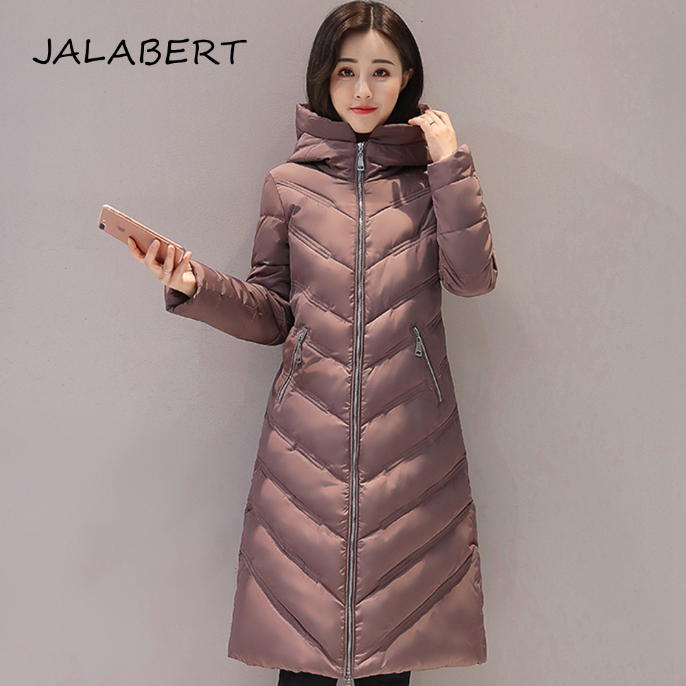 JALABERT 2017 Winter New Female Lightweight Cotton Hooded coat in the long section women Slim cotton jacket lucky panda 2016 the new winter coat and female slim in the long and small lattice fragrant cotton lkp243