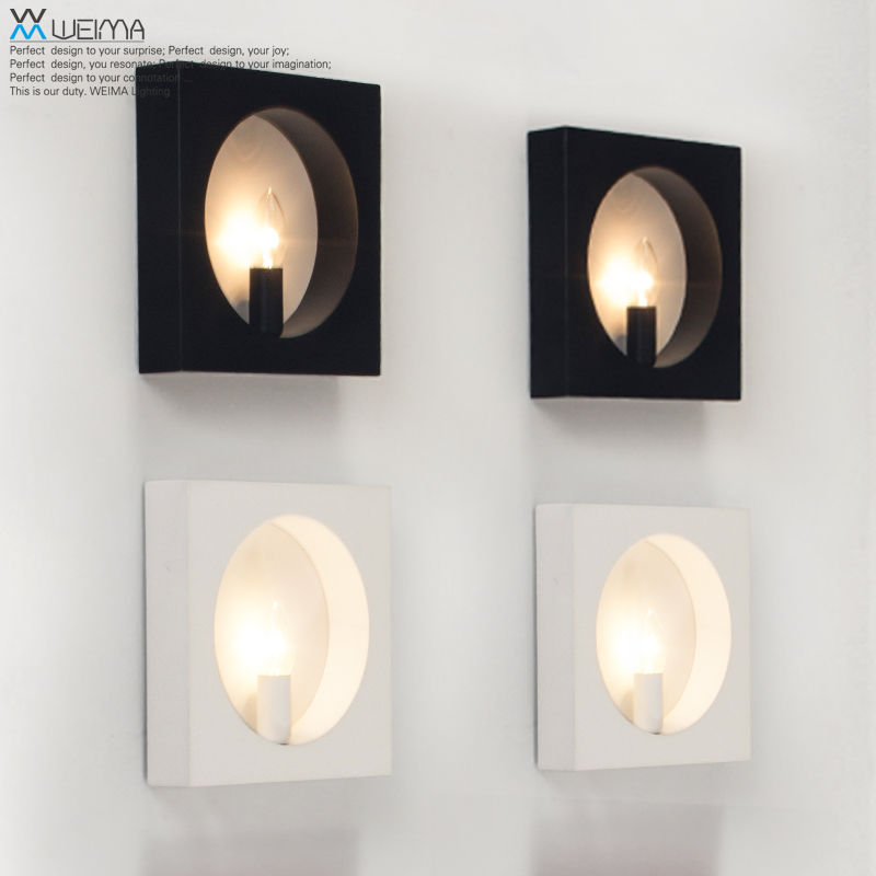 modern minimalist black white Nordic art wall lamp lighting the study hall bedroom living room the ivory white european super suction wall mounted gate unique smoke door