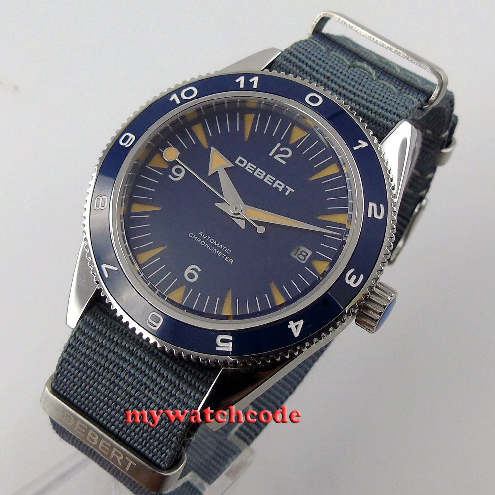 41mm debert blue dial sapphire glass miyota Automatic chronometer mens Watch D13 цена и фото