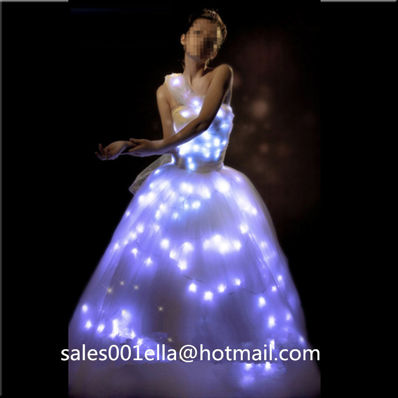 luminous wedding dress led growing evening costume stage suit party dancing wear for club party bar - Halloween Led Costume