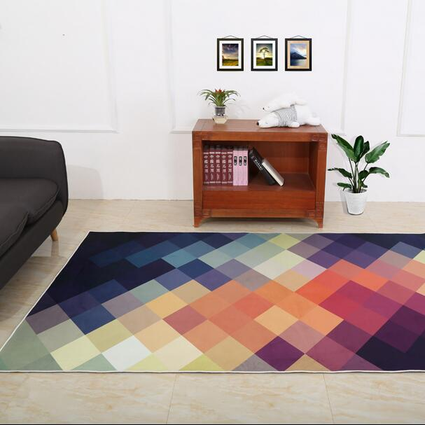 Nodic style Geometric carpet living room coffee table mat Super Soft Coral Fleece Living Room Carpet Kids Bedroom Mat Rug