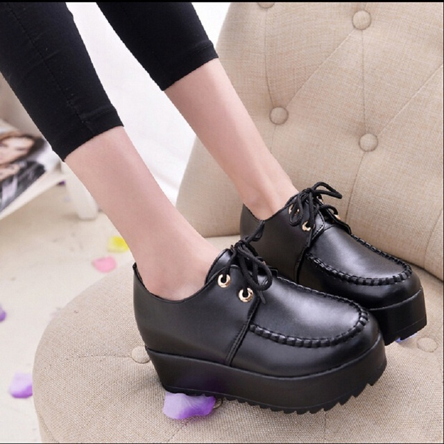 Women Platform Shoes Lace Up Black Creepers Pu Leather Harajuku Shoes Cheap Women Falt Shoes Moccasins Hand-made x715