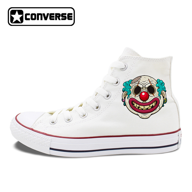 All Stars Shoes Men's Converse Creepy Scar Clown Hand Painted Shoes for Women High Top Canvas Sneakers Classic Chuck Taylors men women converse puerto rico flag hand painted artwork high top canvas shoes unique sneakers