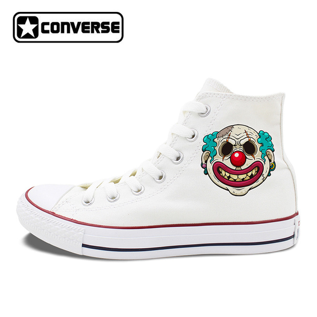 28d2f02a216d All Stars Shoes Men s Converse Creepy Scar Clown Hand Painted Shoes for Women  High Top Canvas Sneakers Classic Chuck Taylors