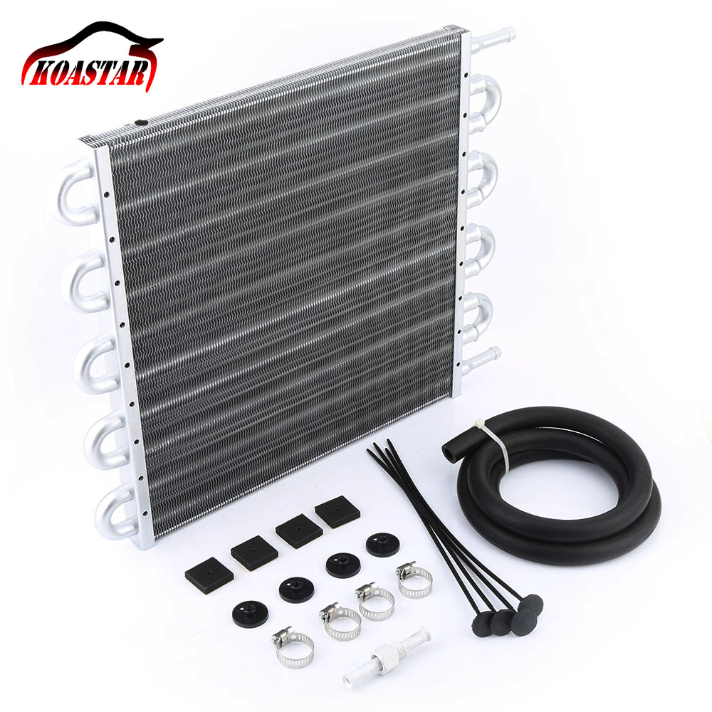 10 Row 6 AN Aluminum Racing Engine Transmission Oil Cooler Kit For Universal Car Silver