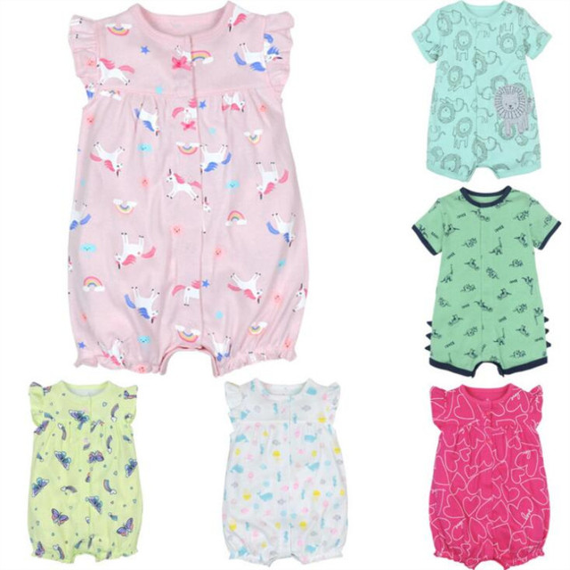 Одежда для маленьких девочек детский летний Комбинезон хлопковый комбинезон с короткими рукавами для девочек Детские костюмы комбинезоны для новорожденных