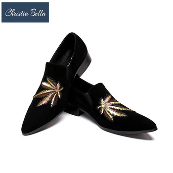 Christia Bella Fashion Men Loafers Gold Tiger Embroidery Handmade Men Velvet Shoes Party and Wedding Men's Flat Size 38-46