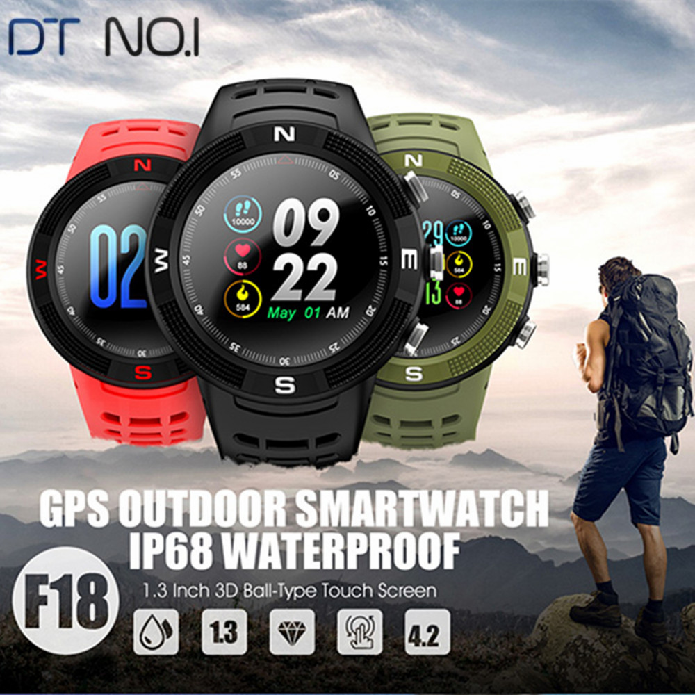 NO.1 F18 Smart Watch GPS Sports Bluetooth Sleep Monitoring Smartwatch For Men Waterproof Call / Message Reminder PK NO.1 F6 image