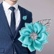 8piece/lot New Mint Green Ribbon Rose Silk Bridesmaids Wedding Corsages And Boutonniere Groomsman Flowers Brooch XH037