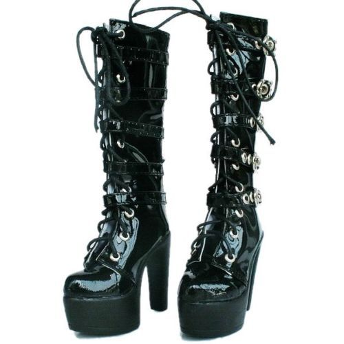 [wamami] 50# Black 1/3 SD BJD Dollfie High Heels Synthetic Leather Boots/Shoes-7.5cm цена
