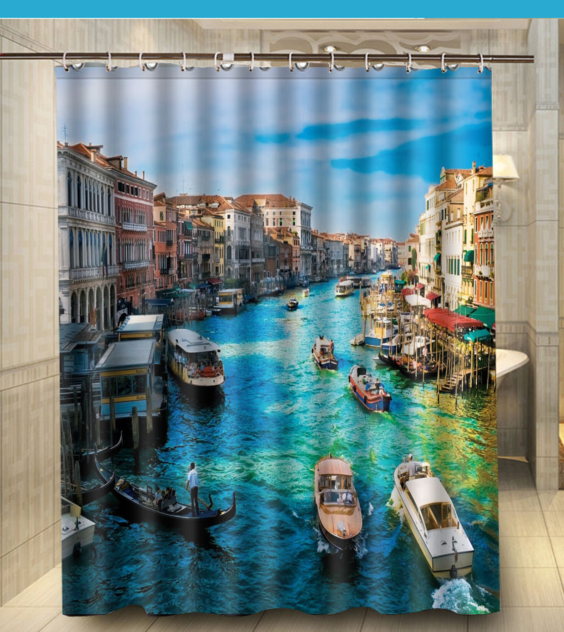 Beautiful Venice Boat House Bathroom Shower Curtain 140x180cm Bath Waterproof Polyester In Curtains From Home Garden On