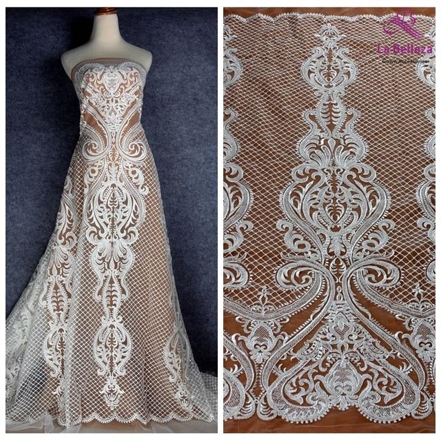 La Belleza new off white beaded lace fabric large pattern bridals lace fabric 1 yard