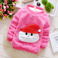 2016 new autumn winter baby boys and girls T-shirts clothing cotton T-shirt plus thick velvet Christmas dress girls sweater