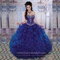 Azul Royal Vestidos Quinceanera 2015 Com Destacável Saia de Babados de Organza Frisado Querida Vestidos Quinceanera Barato QD55