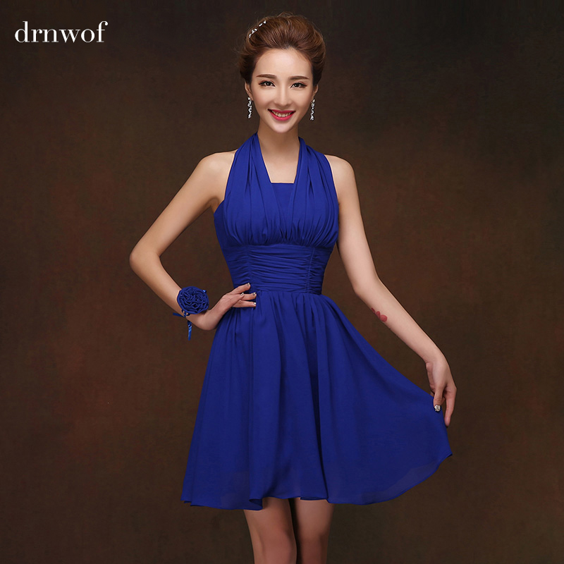 Halter royal blue short bridesmaid dresses fit junior for Royal blue short wedding dresses