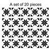 Mediterranean Style Retro Black White Tile Look Stickers 20pcs  1