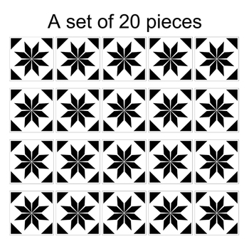 Mediterranean Style Retro Black White Tile Look Stickers 20pcs  1
