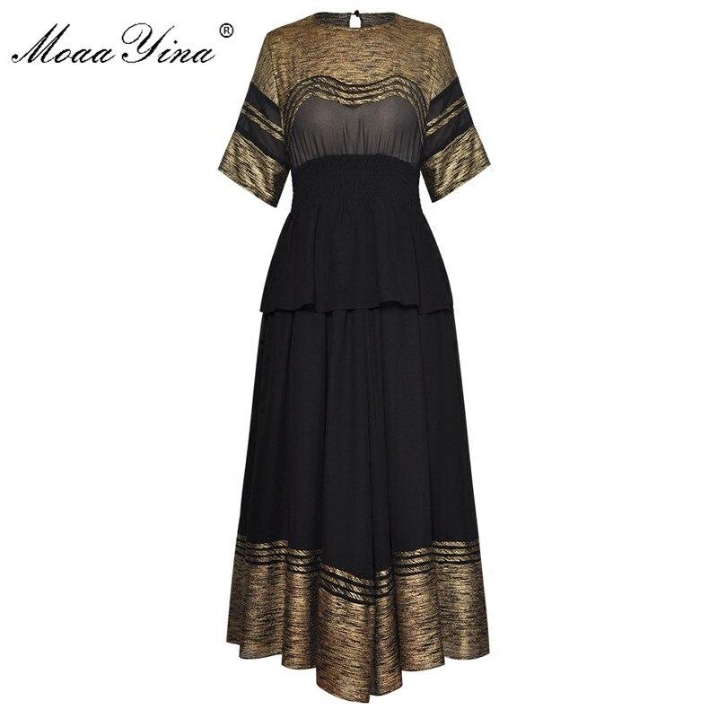 MoaaYina High Quality Fashion Designer Runway Set Summer Women Short sleeve Gold Line Casual Elegant Slim