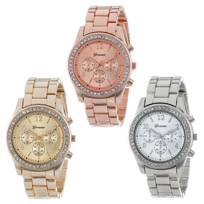 2018 New Fashion Faux Chronograph Plated Classic Geneva Quartz Ladies Watch Women Crystals Wristwatches Relogio Feminino