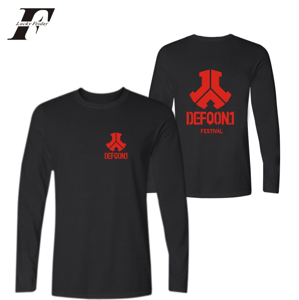 LUCKYFRIDAYF Defqon.1 2017 Kpop New Style Women/Men Long Sleeve Summer Music Festival Fashion Hiphop T-Shirts Plus Size 4XXXL