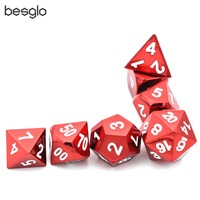 7 Die Metal Polyhedral Dice Set DnD Role Playing Game Dice Set with Drawstring Pouch for RPG Table Games