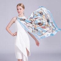 Pure Silk Scarf Women Luxury Brand Square Silk Scarf Stoles Echarpes Foulards Femme Bandana Horse Scarves