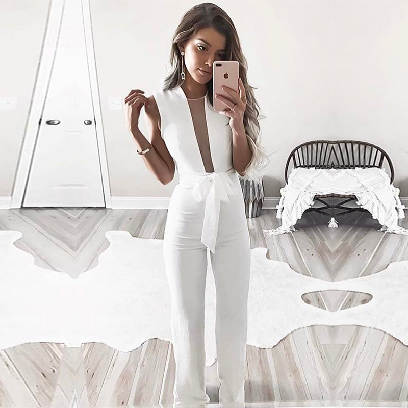 Plus Size Jumpsuits And Rompers For Women 2018 Amazon Rompers Summer Female Playsuits Long Pants Spodnie Damskie Monos Largos