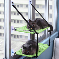 pawstrip 3 Colors Double Layer Cat Hammock Bed Window Cat Lounger Big Suction Cups Cat Window Perch Cat Bed Holds Up To 26kg