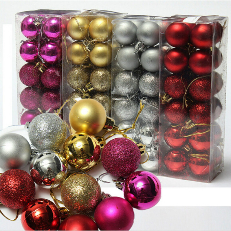 3cm 24pcs Xmas Party Wedding Hanging Ornament Christmas Tree Ball Christmas Decoration Supplies ...
