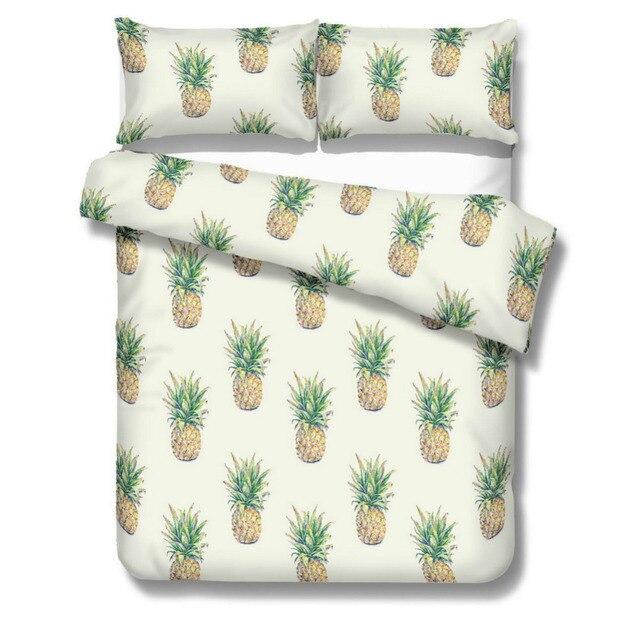 Dropshipping Pineapple Bedding Set Sweet Printed Fruit Bedsheet Soft Microfiber Duvet Cover Set 3 Pcs Twin Full Queen King Sizes
