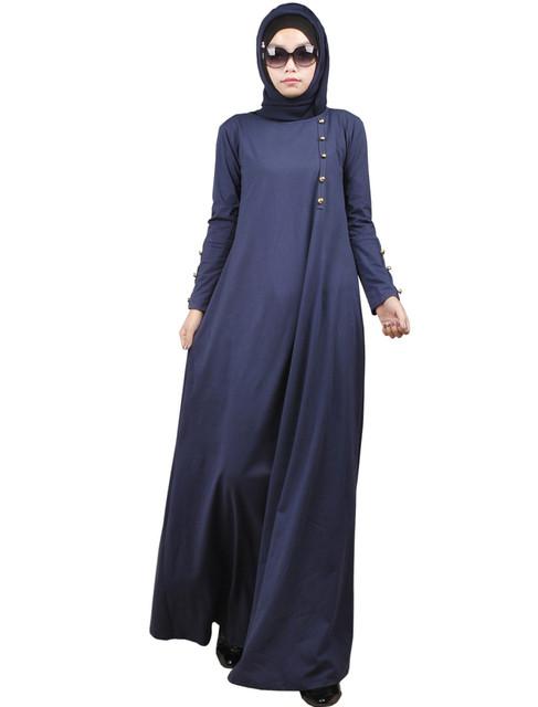 2016 New Arrival Muçulmano algodão vestido longo para As Mulheres Malásia Turco abayas em Dubai senhoras roupas de alta qualidade vestido longo KJ