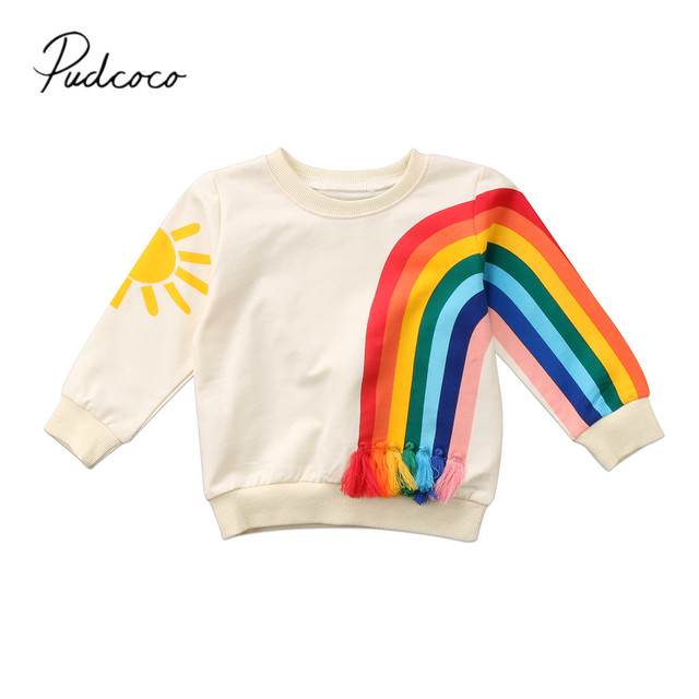 2017 Thương Hiệu New Toddler Trẻ Sơ Sinh Cô Gái Kid Cầu Vồng Tua T-Shirt Tops Quần Áo Áo Len Màu Sắc Áo Cardigan Casual Ấm Tops