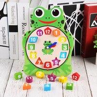Emparelhamento Brinquedo Crianças Relógio Relógio Cognição Educacional de madeira Blocos de Construção Do Bebê Relógio Digital Auxiliar de Ensino Montessori