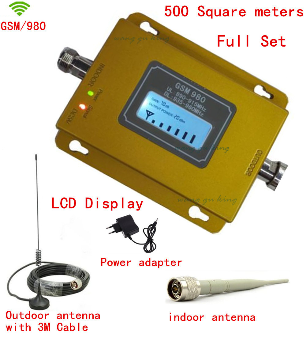 Full Set GSM 900MHz Cell Phone Signal Booster Lcd Display Repeater Gsm Signal Amplifier W/ Antenna Gsm Repeater Kits 17dbm