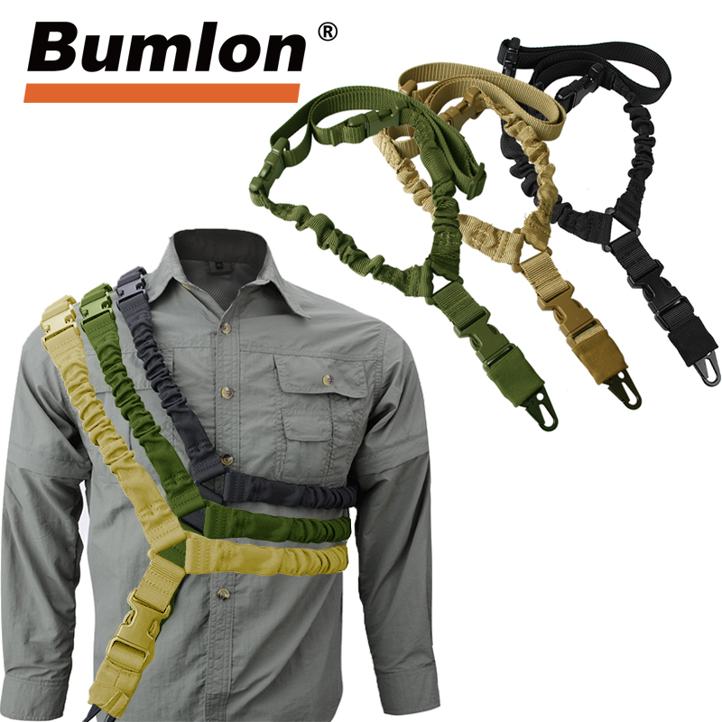 1000D Heavy Duty Adjustable Tactical Gun Sling Belt Single Point Mount Bungee Military Rifle Sling Kit Airsoft Strap HT30-0001