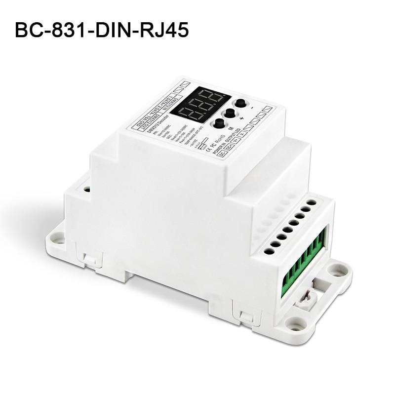 BC-831-DIN-RJ45 DC12-24V input 10A*1CH output,Constant voltage DIN Rail DMX512 Decoder digital tube display for led strip kvp 24200 td 24v 200w triac dimmable constant voltage led driver ac90 130v ac170 265v input
